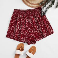 Plus All Over Print Wide Leg Shorts