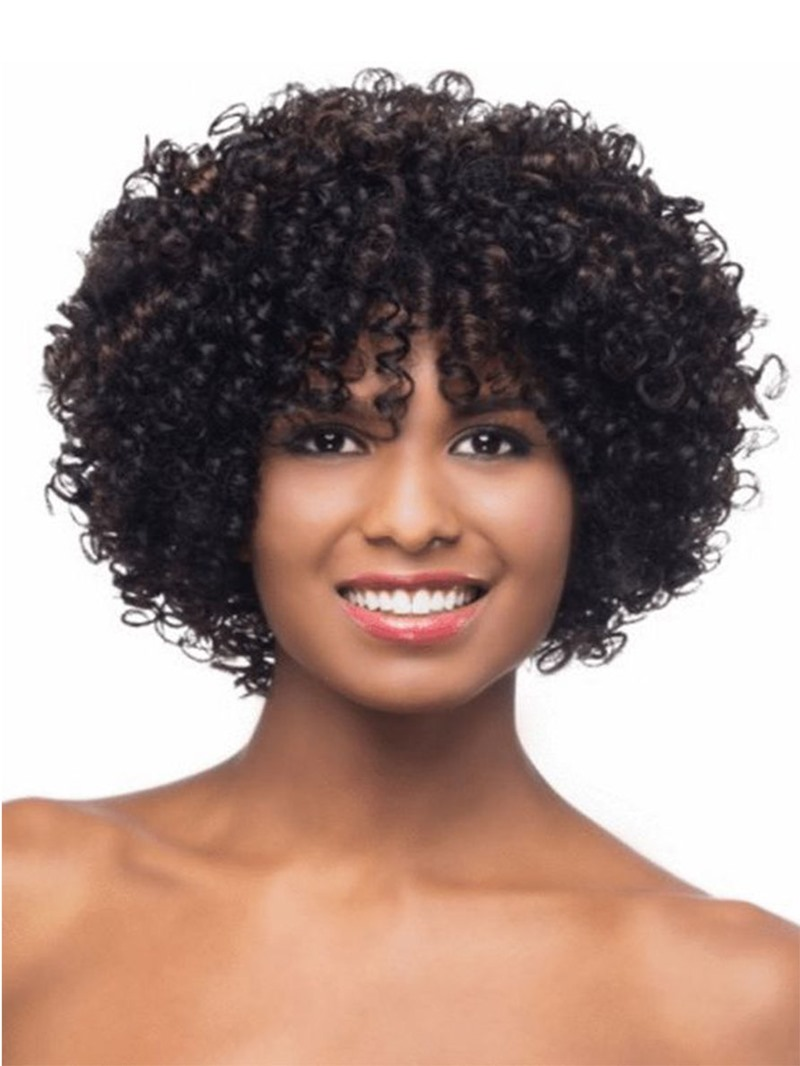 Ericdress Women's Short Length Afro Bob Hairstyles Synthetic Hair Wigs With Bangs Capless Wigs 14Inch