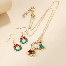 1 Stueck Weihnachten Halskette mit Klingel Anhaenger & 1 Paar Ohrringe