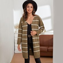 Open Front Drop Shoulder Striped Cardigan