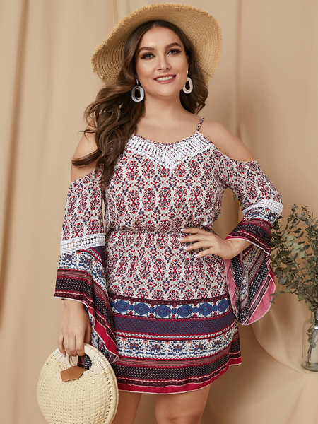Yoins Plus Size Red Spaghetti Strap Tribal Cold Shoulder Long Sleeves Dress