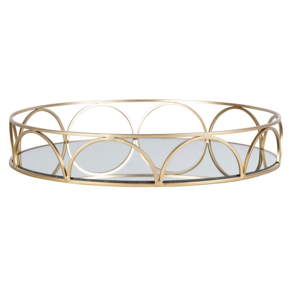 Tablett, rund, aus Glas und goldfarbenem Metall
