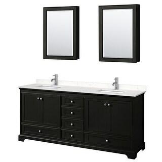 Deborah 80 Inch Double Vanity, Cultured Marble Top, Medicine Cabinets (Dark Espresso, Light-Vein Carrara Cultured Marble)
