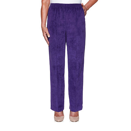 Alfred Dunner Classics Womens Straight Corduroy Pant, 10 , Purple