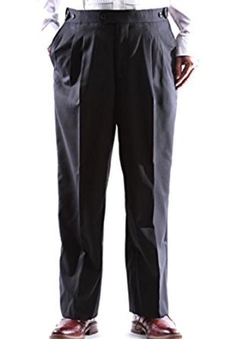 Men's Super 140s Black Stretch Wool Tuxedo Pants