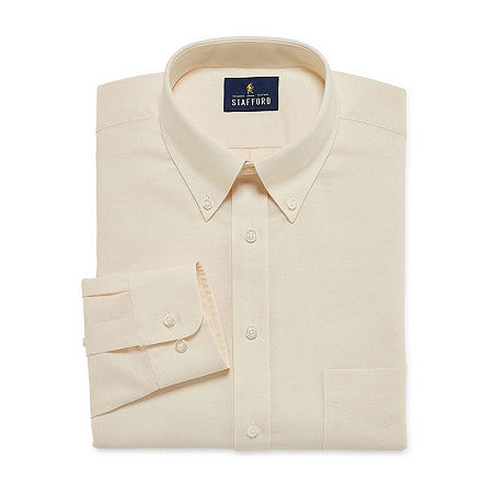 Stafford Mens Wrinkle Free Oxford Button Down Collar Fitted Dress Shirt, 14.5 32-33, Beige