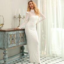 Mock-neck Sequin Mesh Prom Dress