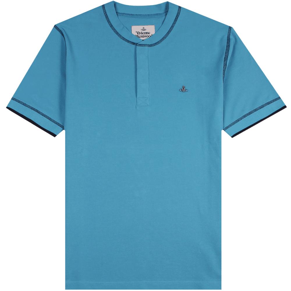 Vivienne Westwood Grandad Collar Polo Shirt Black Colour: LIGHT BLUE, Size: SMALL