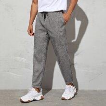 Pantalones de mirada de lino de cintura con cordon