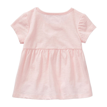 Okie Dokie Baby Girls Round Neck Short Sleeve Graphic T-Shirt, 12 Months , Pink