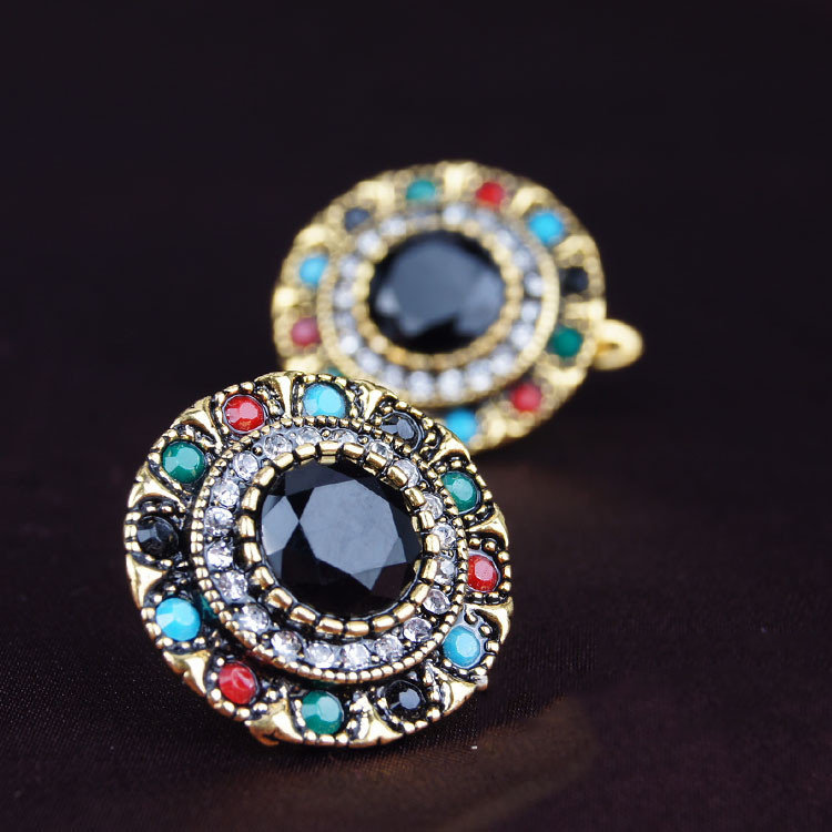 Retro Colorful Diamond Earrings Gemstones Bohemian Earrings Alloy Ear Drop For Women