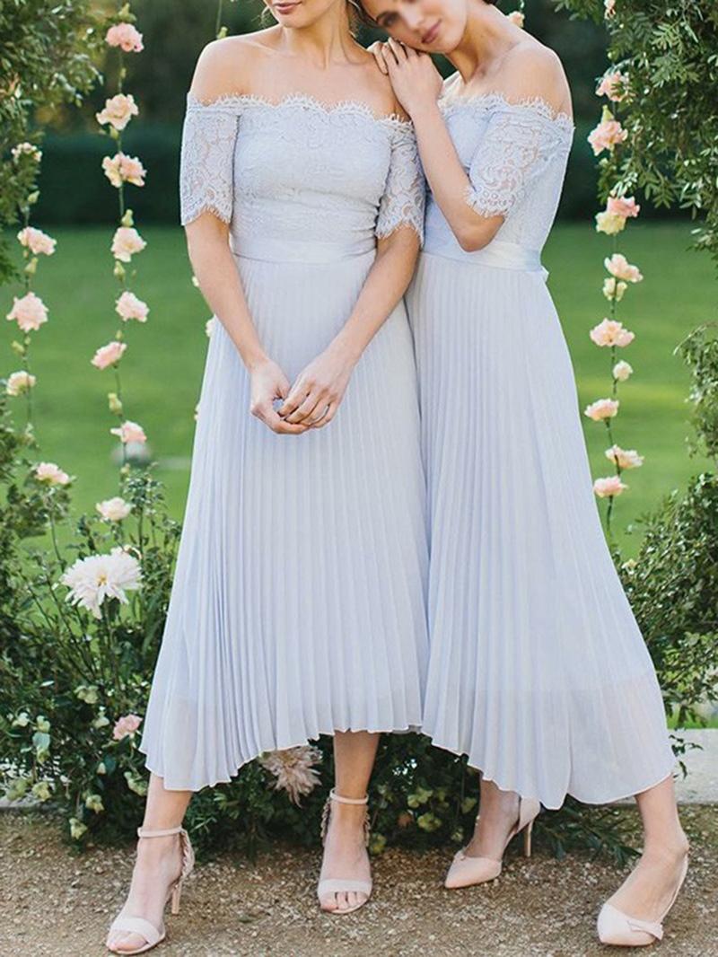 Ericdress A-Line Tea-Length Short Sleeves Lace Bridemaid Dress