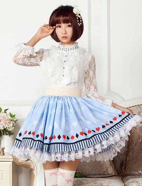 Milanoo Luz de encaje azul impreso poliester Lolita falda para niñas