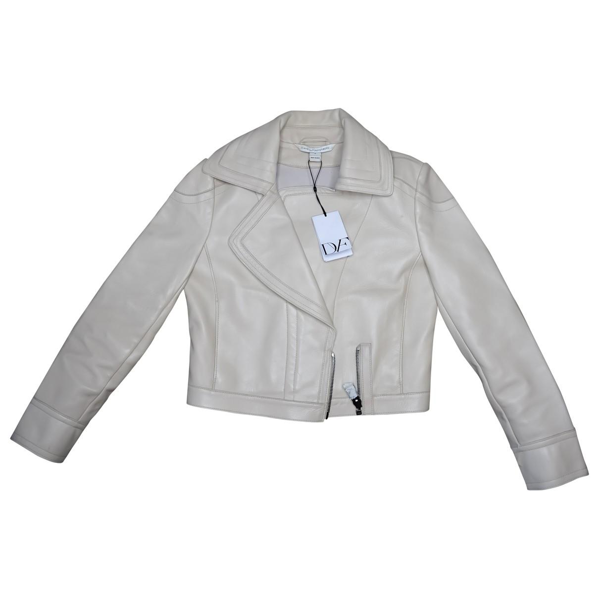 Diane Von Furstenberg \N Beige Leather Leather jacket for Women XS International
