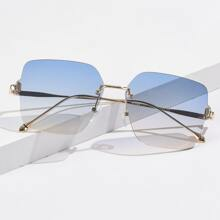 Men Ombre Lens Rimless Sunglasses