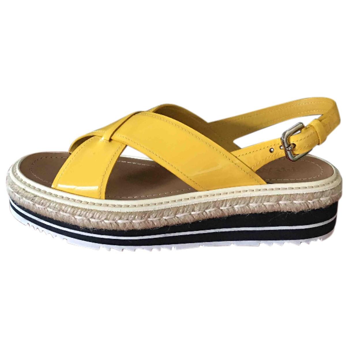 Prada \N Yellow Leather Sandals for Women 40 EU