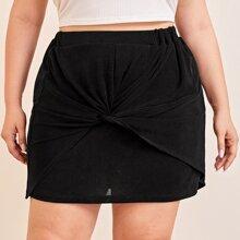 Plus Velvet Twist Front Elastic Waist Skirt