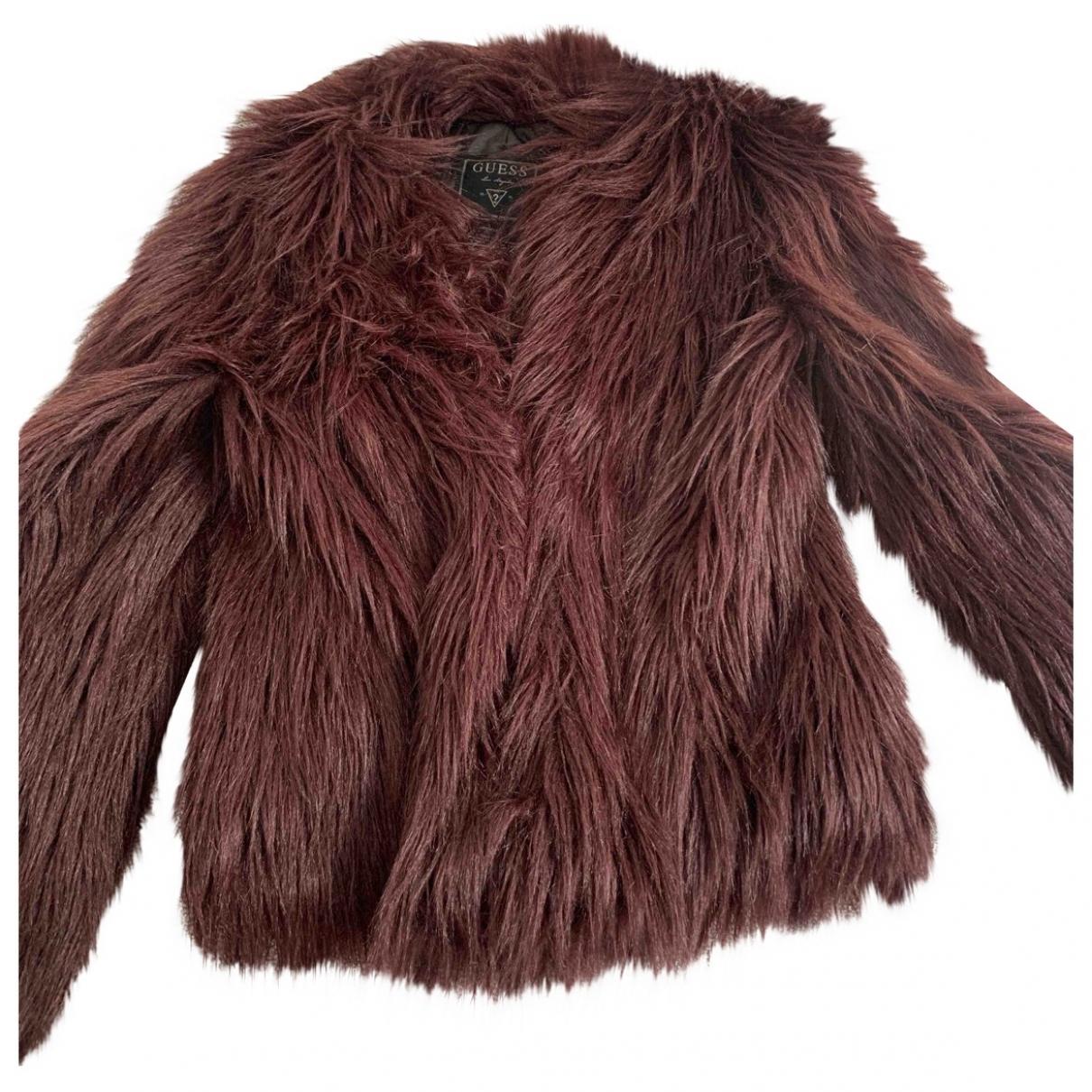 Guess - Manteau   pour femme en fourrure synthetique - bordeaux