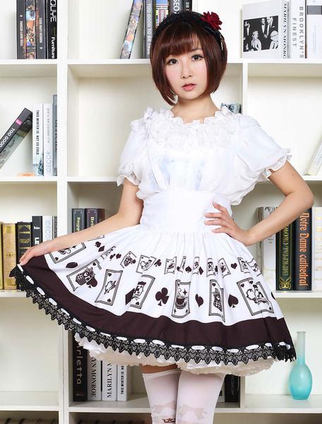 Milanoo Gothic Lolita Dress Poker Printed High Waist  Lolita Skirt Black Lace Trim Lolita Suspender Skirt