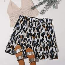Plus Allover Graphic Knotted Tiered Layer Skirt