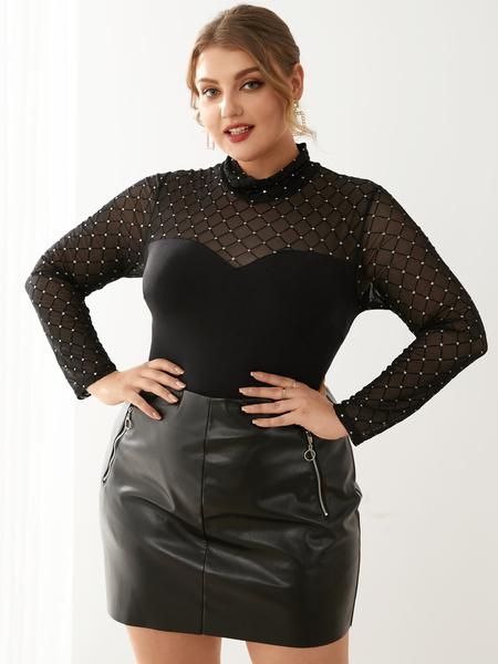 YOINS Plus Size Turtleneck Long Sleeves Bodysuit