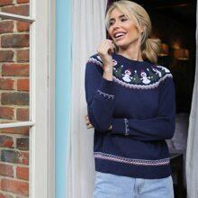Pullover mit Raglanaermeln und Weihnachten Muster