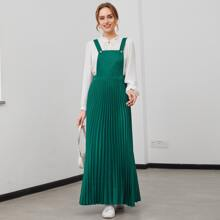 Solid Pleated Hem Pinafore Dress