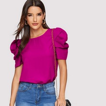 Pleated Puff Sleeve Solid Top