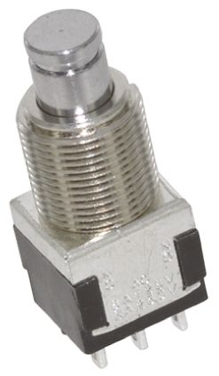TE Connectivity Double Pole Double Throw (DPDT) Momentary Push Button Switch, 6.35 (Dia.)mm, Panel Mount, 250V ac