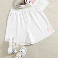 Plus Letter Patched Track Shorts