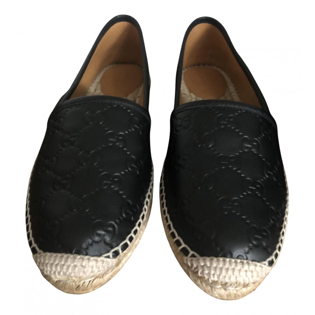 Gucci - Espadrilles   pour femme en cuir - noir