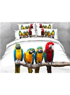 Colorful Parrots Printed Cotton 4-Piece White 3D Bedding Sets/Duvet Covers