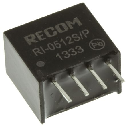 Recom RI 2W Isolated DC-DC Converter Through Hole, Voltage in 4.5 → 5.5 V dc, Voltage out 12V dc