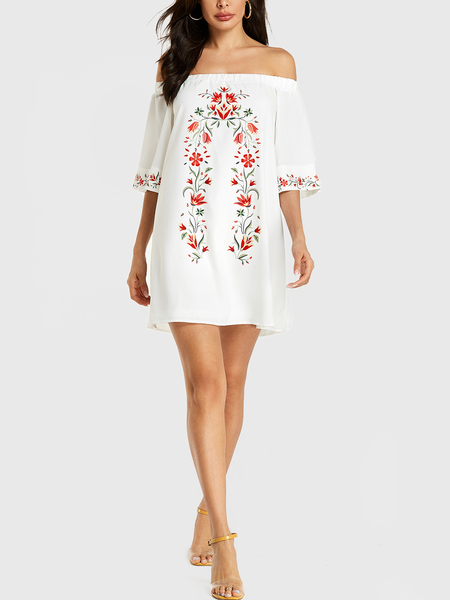 YOINS White Random Floral Print Off Shoulder Dress