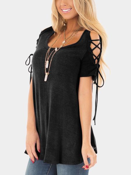 Yoins Black Lace-up Design Round Neck Short Sleeves T-shirts