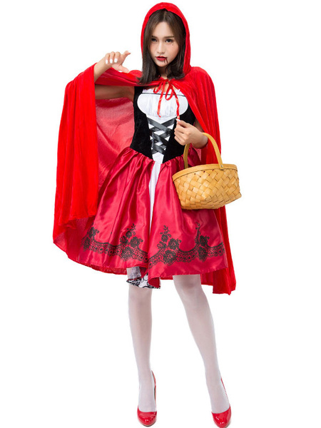 Milanoo Red Carnival Costumes Hat Little Red Riding Hood Holiday Costume Halloween