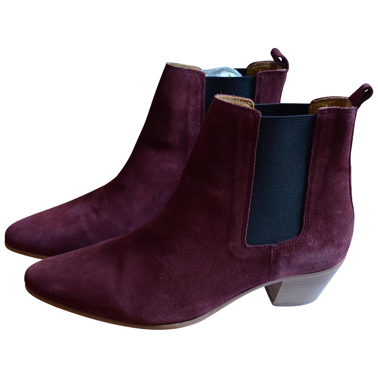 Iro - Boots   pour femme en suede - bordeaux