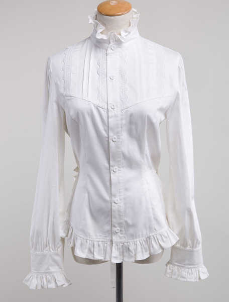 Milanoo White Lolita Blouse Cotton Long Sleeves High Collar Ruffles Lolita Top