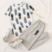 T-Shirt mit Ananas Muster und Jogginghose mit Kordelzug