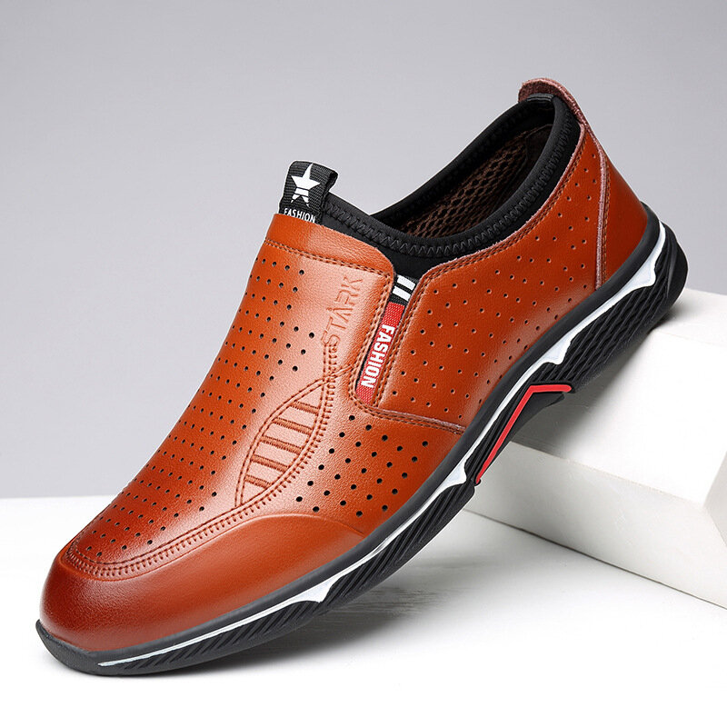 Men Cow Leather Non Slip Hole Slip On Casual Driving Shoes