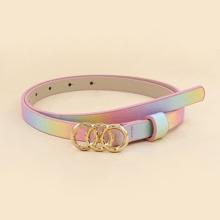 Triple Ring Buckle Rainbow Belt