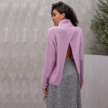 Backless Drop Shoulder Turtleneck Sweater