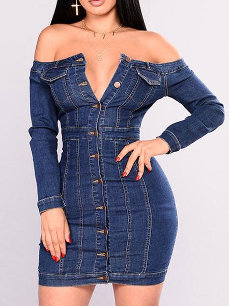 Milanoo Blue Bodycon Dresses Denim Off-The-Shoulder Long Sleeves Buttons Short Sheath Dress For Women