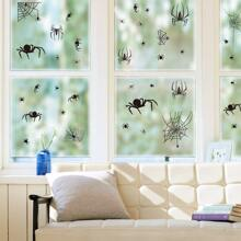 4sheets Halloween Spider & Bat Print Wall Sticker