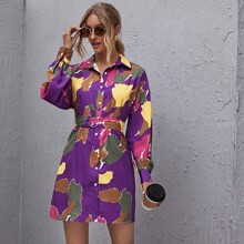 Button Front Belted Tie Dye Dress