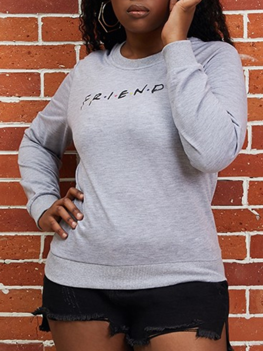 LW lovely Casual O Neck Letter Print Grey Hoodie