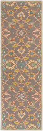 Caesar CAE-1193 4 x 6 Rectangle Traditional Rug in Burnt Orange  Teal  Mustard  Taupe  Dark
