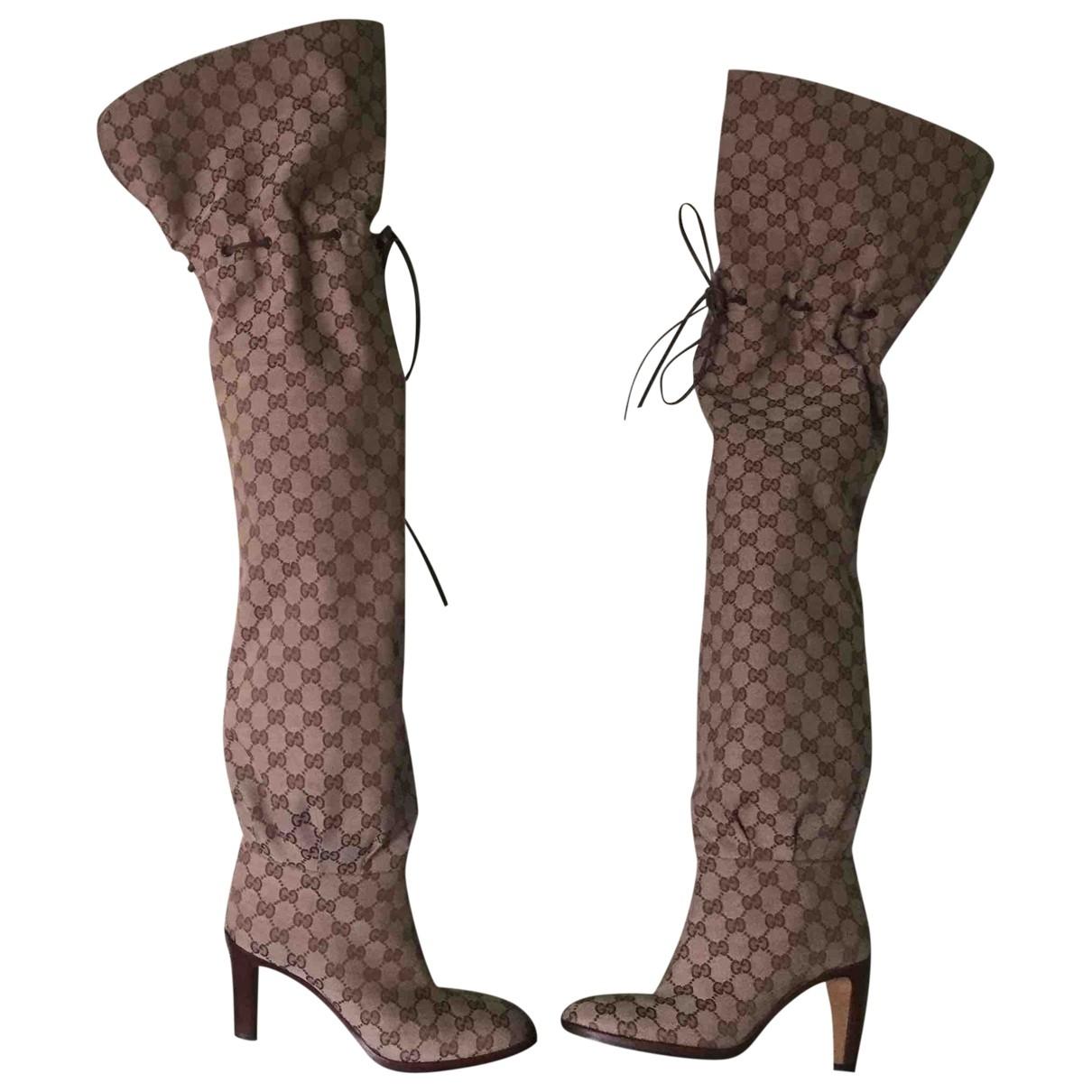 Gucci \N Beige Cloth Boots for Women 39.5 EU