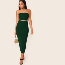 Solid Tube Top & Bodycon Skirt Set