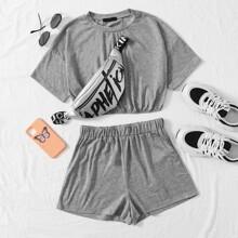 Drop Shoulder Crop Tee & Track Shorts Set